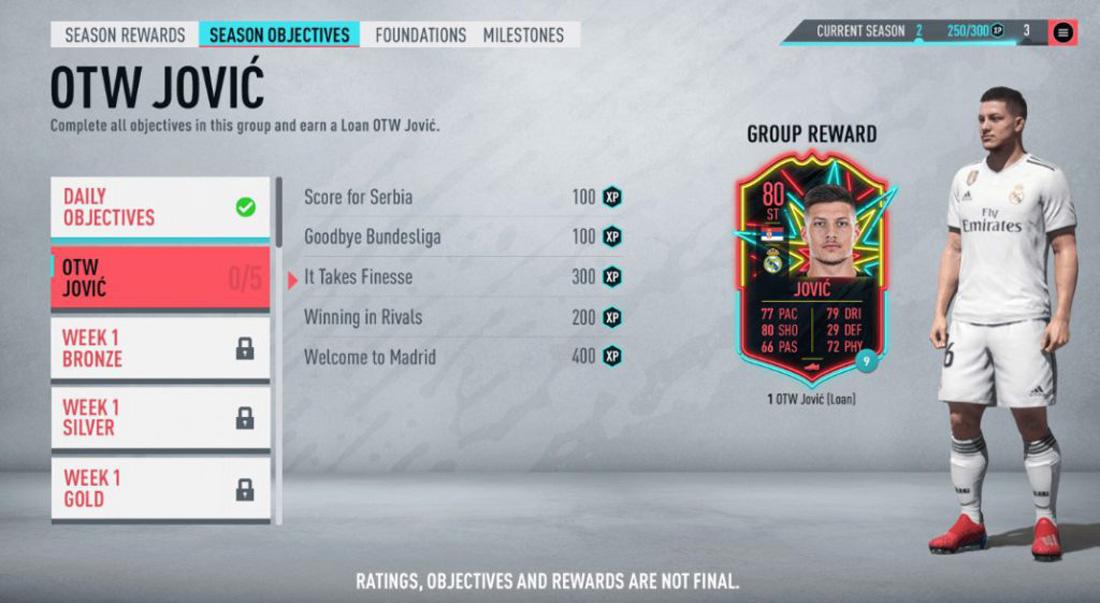 صفحه ماموریت ها در نسخه Fifa 20 Ultimate