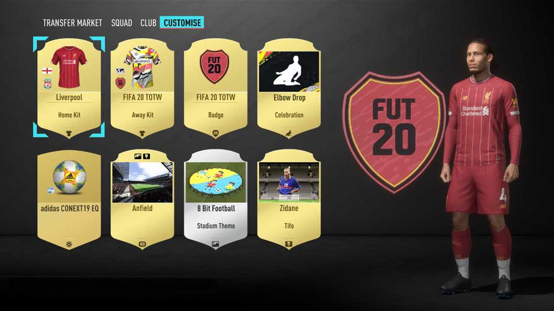 بخش شخصی سازی نسخه Fifa 20 Ultimate