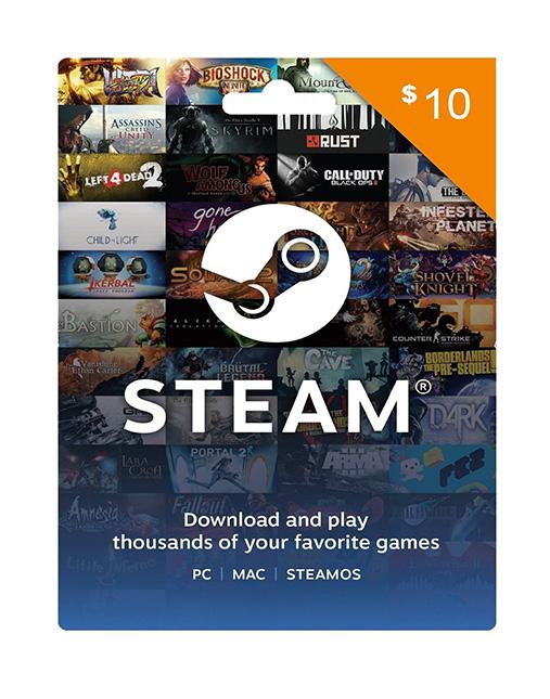 خرید گیفت کارت 10 دلاری استیم ( Steam )