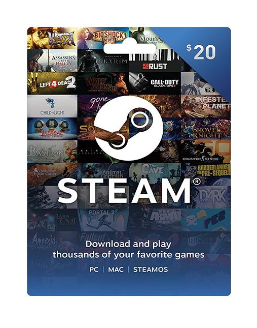 خرید گیفت کارت 20 دلاری استیم ( Steam )